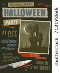 scary halloween party... | Shutterstock .eps vector #713193868