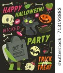 happy halloween card background.... | Shutterstock .eps vector #713193883