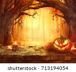 halloween pumpkin. scary... | Shutterstock . vector #713194054