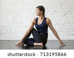 young attractive woman... | Shutterstock . vector #713195866