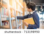 young asian man student... | Shutterstock . vector #713198950