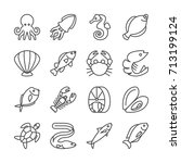 fish and seafood line vector... | Shutterstock .eps vector #713199124