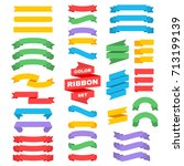 retro text ribbon banners in... | Shutterstock .eps vector #713199139