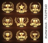 golden winner trophy cups ... | Shutterstock .eps vector #713199160