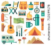 tourists equipment and travel... | Shutterstock .eps vector #713199178