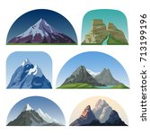 cartoon mountain side vector... | Shutterstock .eps vector #713199196