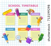 school timetable with funny... | Shutterstock .eps vector #713199298