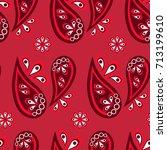 seamless paisley background ... | Shutterstock .eps vector #713199610