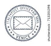 postal stamp venice  italy.... | Shutterstock .eps vector #713201398