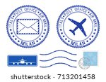 postmarks milan and stamps.... | Shutterstock .eps vector #713201458