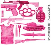 weapon set in shades of pink...   Shutterstock .eps vector #713202346