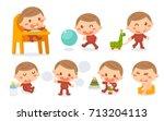 set of baby development stages... | Shutterstock .eps vector #713204113