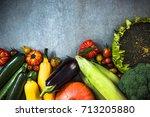 vibrant autumn market fresh... | Shutterstock . vector #713205880