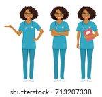 nurse set black   Shutterstock .eps vector #713207338