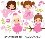 vector cute little fairies with ... | Shutterstock .eps vector #713209780
