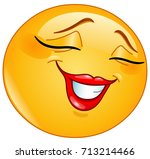 Stock vector female emoticon smiling shyly with closed eyes 713214466