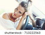 transportation concept   tired... | Shutterstock . vector #713222563