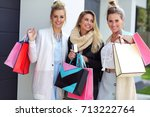 happy group of friends shopping ...   Shutterstock . vector #713222764