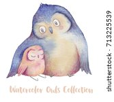 Stock photo cute illustration with parent owl and little owlet watercolor hand drawn painting 713225539