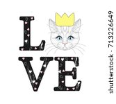 fashion print with cat face.... | Shutterstock .eps vector #713226649