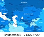 caucasus and central asia map   ... | Shutterstock .eps vector #713227720