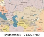 caucasus and central asia map   ... | Shutterstock .eps vector #713227780