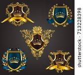 monogram logos set | Shutterstock .eps vector #713228398