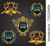 monogram logos set | Shutterstock .eps vector #713228404