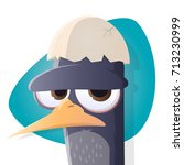grumpy bird with egg hat | Shutterstock .eps vector #713230999