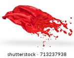 red textile melted to liquid... | Shutterstock . vector #713237938