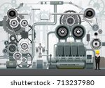 industrial machinery factory... | Shutterstock .eps vector #713237980