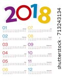 calendar 2018  all month  2... | Shutterstock .eps vector #713243134