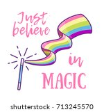 magic wand making a rainbow... | Shutterstock .eps vector #713245570