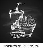 hand drawn chalk sketch on... | Shutterstock .eps vector #713245696