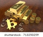 the image of the piles of gold... | Shutterstock . vector #713250259