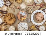 collection of vintage rusty... | Shutterstock . vector #713252014