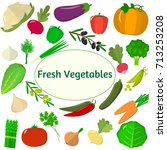 vector vegetables icons set in... | Shutterstock .eps vector #713253208