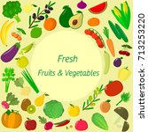 vector vegetables icons set in... | Shutterstock .eps vector #713253220