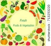 vector vegetables icons set in... | Shutterstock .eps vector #713253220