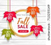 autumn sale poster of discount... | Shutterstock .eps vector #713255149