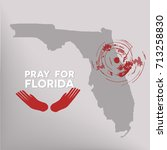 pray for florida  the symbol of ... | Shutterstock .eps vector #713258830