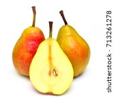 pears cut into slices beautiful ... | Shutterstock . vector #713261278