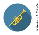 trumpet or horn flat icon with... | Shutterstock .eps vector #713266684