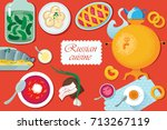 set russian national food. food ...   Shutterstock . vector #713267119