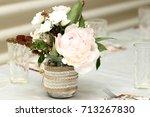 bouquet with peonies. wedding  ... | Shutterstock . vector #713267830