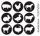 farm animals silhouettes icons... | Shutterstock .eps vector #713276554