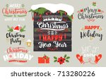 set of christmas and happy new... | Shutterstock .eps vector #713280226