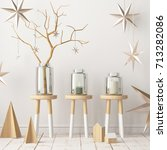 christmas interior  decorated... | Shutterstock . vector #713282086