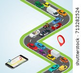 road way location and mobile... | Shutterstock . vector #713282524