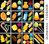 collection of candies and... | Shutterstock .eps vector #713282638